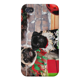 Christmas - Pug - Daisy Mae and Lily Lou iPhone 4 Cover
