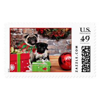 Christmas - Pug - Daisy Mae and Lily Lou Postage Stamps
