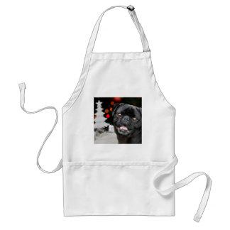 Christmas pug dog adult apron