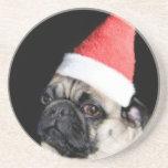 Christmas pug dog beverage coaster
