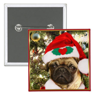 Christmas Pug dog Button