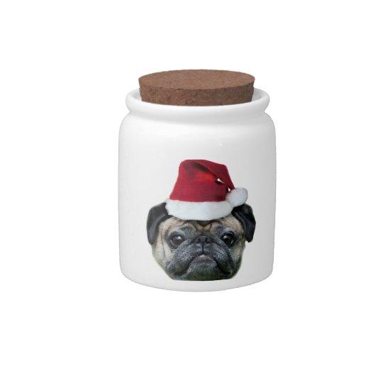 Christmas pug dog candy dish