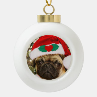 Christmas pug dog ceramic ball christmas ornament