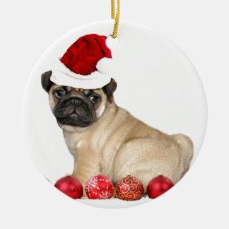Christmas pug dog ceramic ornament