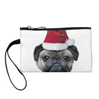 Christmas pug dog coin purse