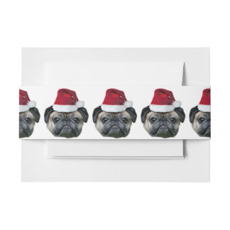 Christmas pug dog invitation belly band