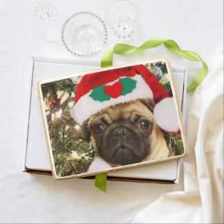 Christmas pug dog jumbo shortbread cookie