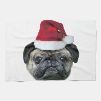 Christmas pug dog kitchen towel