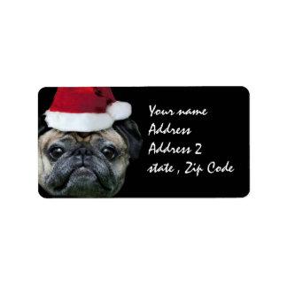 Christmas pug dog label