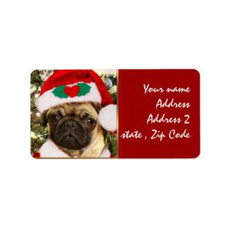 Christmas Pug dog Custom Address Labels