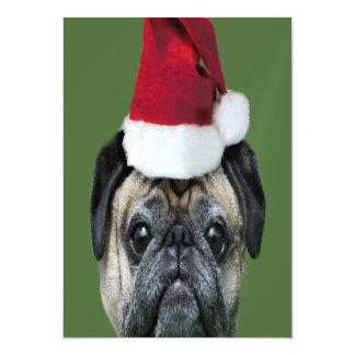 Christmas pug dog magnetic invitations