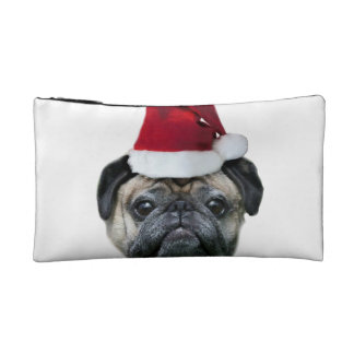 Christmas pug dog makeup bag