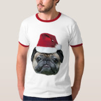 Christmas pug dog men's shirt