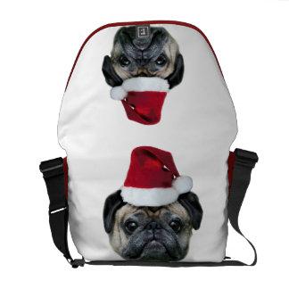 Christmas pug dog messenger bag