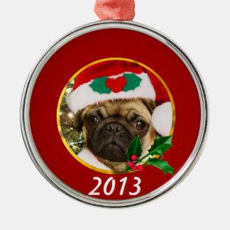 Christmas pug dog metal ornament