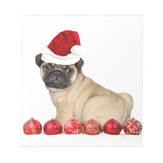 Christmas pug dog notepad