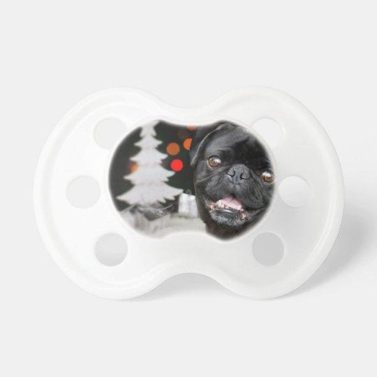 Christmas pug dog pacifier