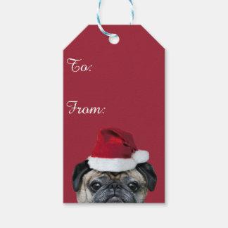 Christmas pug dog pack of gift tags