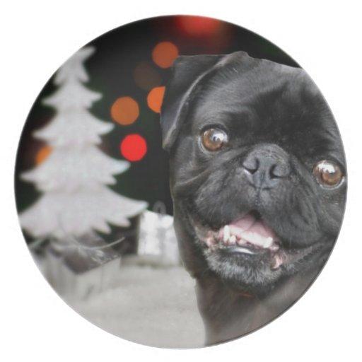Christmas pug dog dinner plate