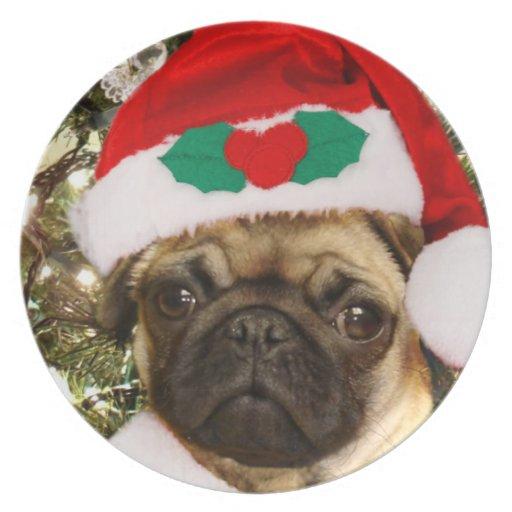 Christmas Pug dog Plate