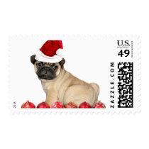 Christmas pug dog postage