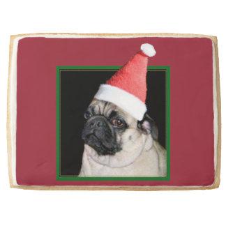 Christmas pug dog shortbread cookie