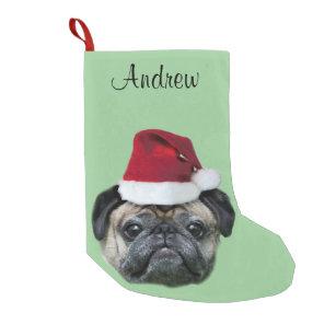 Christmas pug dog small christmas stocking