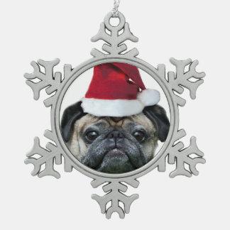 Christmas pug dog snowflake pewter christmas ornament
