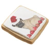 Christmas pug dog square premium shortbread cookie