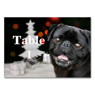 Christmas Pug Dog  table card