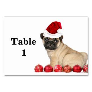Christmas pug dog table cards