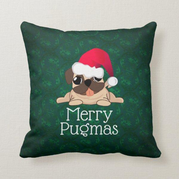 """Christmas Pug Dog Throw Pillow 16"""" x 16"""""""