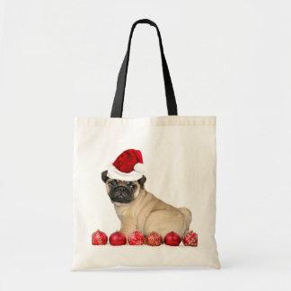 Christmas pug dog tote bag