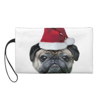 Christmas pug dog wristlet