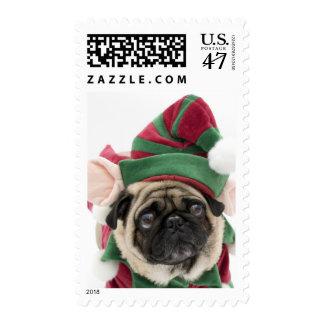 Christmas Pug Elf Postage Stamp