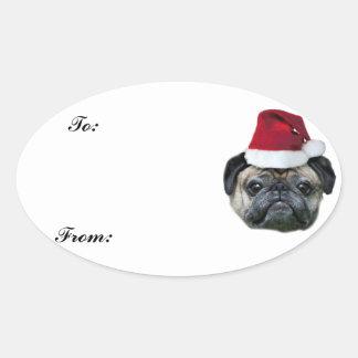 Christmas pug gift tag sticker