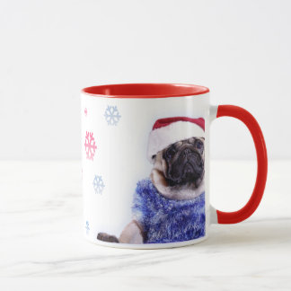 Christmas pug in Santa costumes Mug