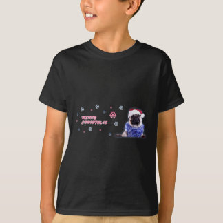 Christmas pug in santa hat T-Shirt