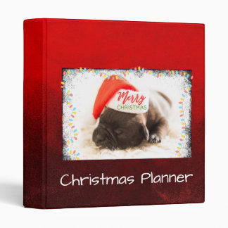 Christmas Pug in Santa Hat with Christmas Lights Binder