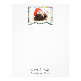 Christmas Pug in Santa Hat with Christmas Lights Letterhead