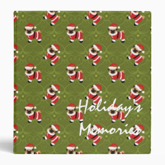 Christmas pug in Santa suit with swirly pattern 3 Ring Binder