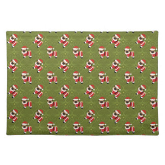 Christmas pug in Santa suit with swirly pattern Cloth Placemat