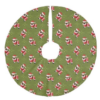 Christmas pug in Santa suit with swirly pattern Faux Linen Tree Skirt