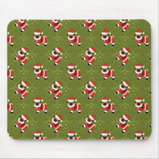 Christmas pug in Santa suit with swirly pattern Mouse Pad