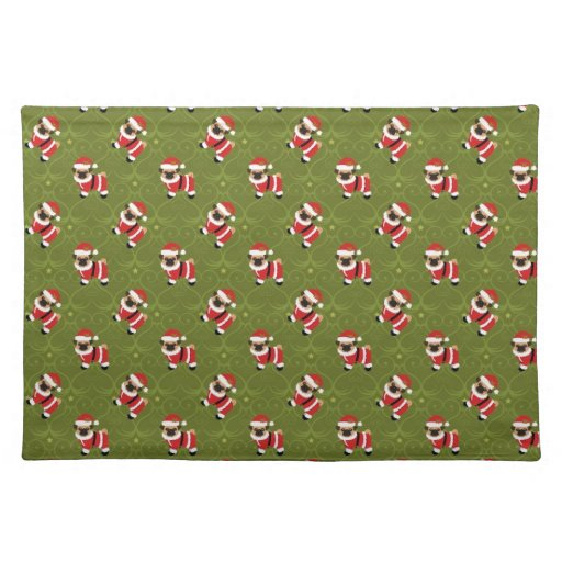 Christmas Pug In Santa Suit With Swirly Pattern Placemats