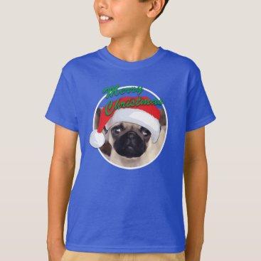 Christmas Themed Christmas Pug - Kids' Basic Hanes T-Shirt