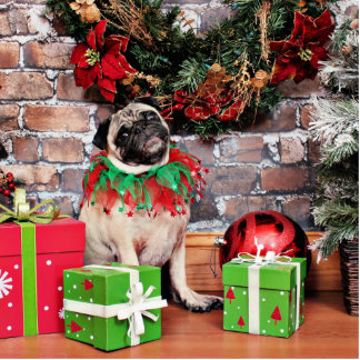 Christmas - Pug - Lily Lou Standing Photo Sculpture