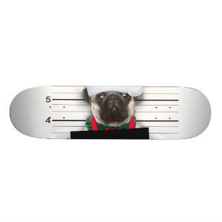 Christmas pug - mugshot dog - santa pug skateboard deck