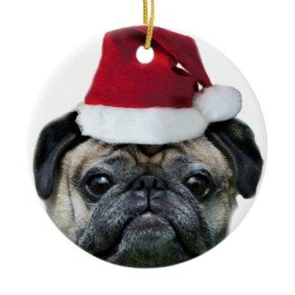Christmas pug ornament ornament
