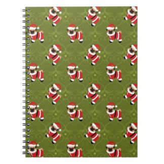 Christmas pug pattern with swirly pattern spiral notebook